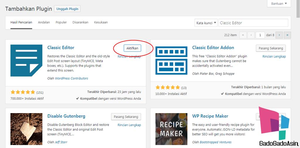 aktifkan plugin classic editor