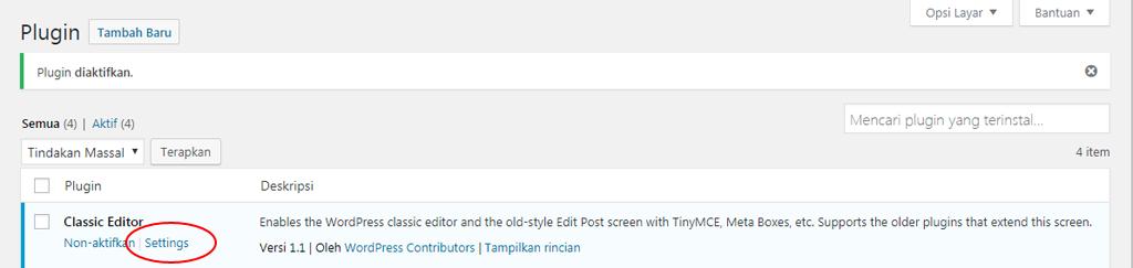 setting plugin classic editor